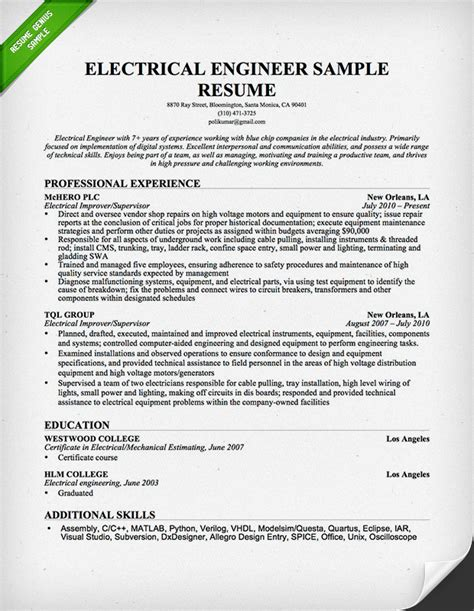 electrical engineer resume sle resume genius