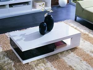 Table Basse Noir Laqué : table basse rectangulaire mila en mdf laqu noir et blanc 56775 ~ Teatrodelosmanantiales.com Idées de Décoration