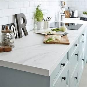 Plaque De Marbre Cuisine : plan de travail stratifi effet marbre blanc mat x cm mm leroy merlin ~ Nature-et-papiers.com Idées de Décoration
