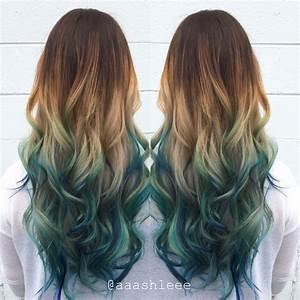 Ombre teal blue rainbow hair | Hair by @aaashleee ...