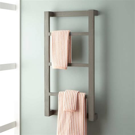 wulan teak hanging towel rack bathroom
