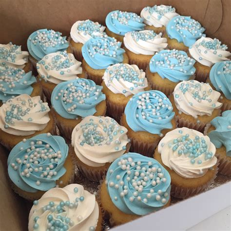 Baby Shower Cupcake Ideas - blue and white baby shower cupcake all things cake