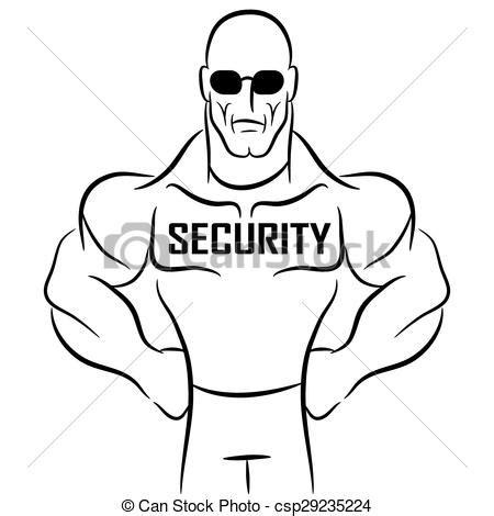 vector illustration  security guard cartoon  image