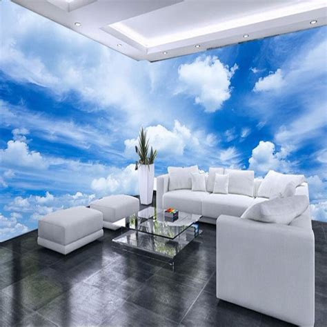 custom  mural wallpaper blue sky white clouds wall
