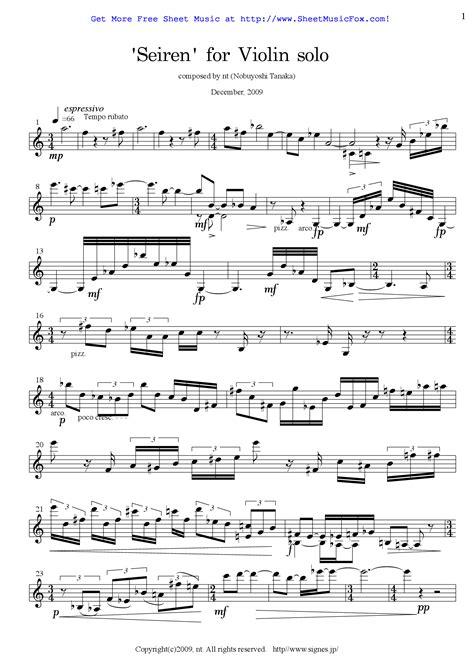 My personal website where i post free sheet music, by michael kravchuk. Free sheet music for Seiren for Violin Solo (Tanaka, Nobuyoshi) by Nobuyoshi Tanaka