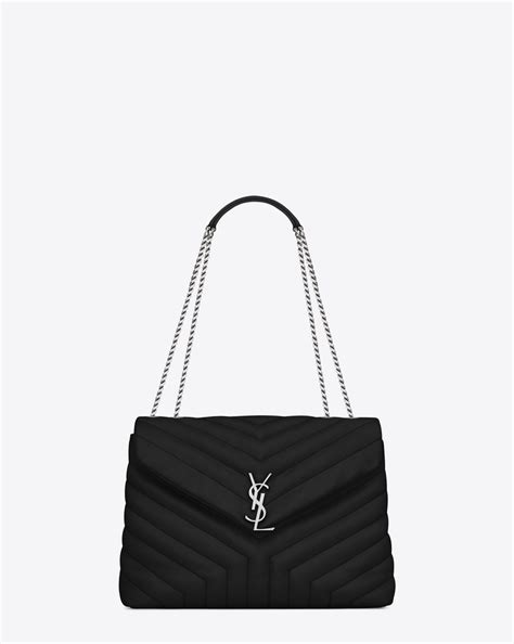 saint laurent medium loulou chain bag  black