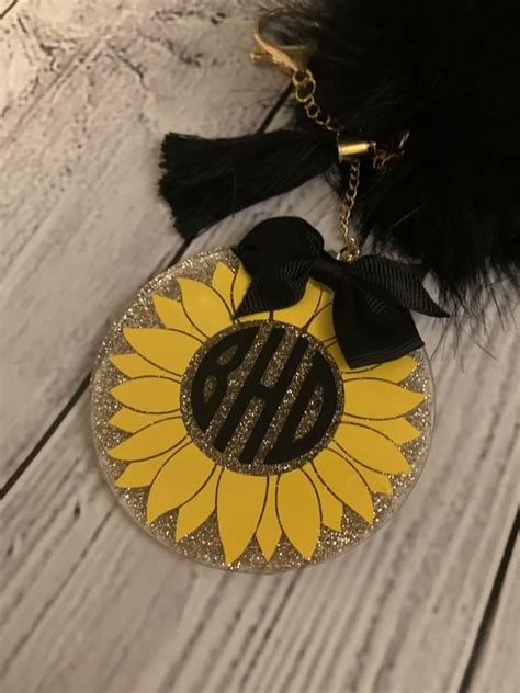 sunflower keychain glitter keychainacrylic keychain etsy   monogram keychain acrylic