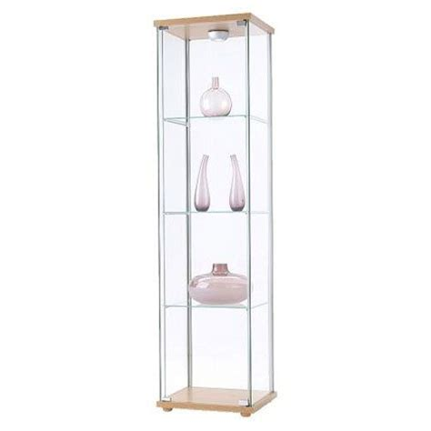 glass cabinet with lights ikea detolf glass curio display cabinet light brown by