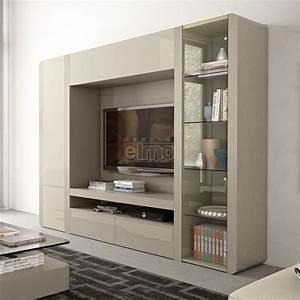 Composition murale contemporaine meuble TV living laque ORCHID