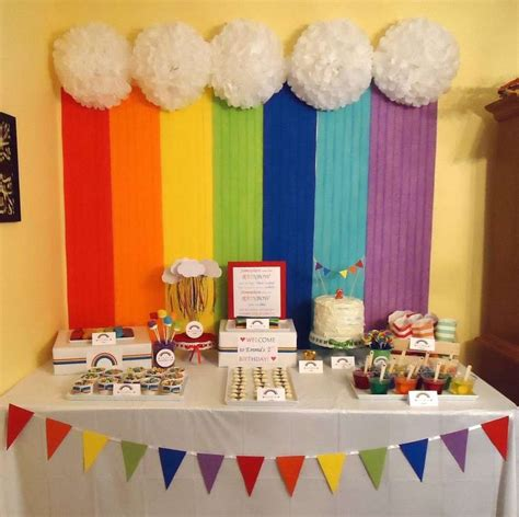 rainbow birthday party ideas photo    catch  party