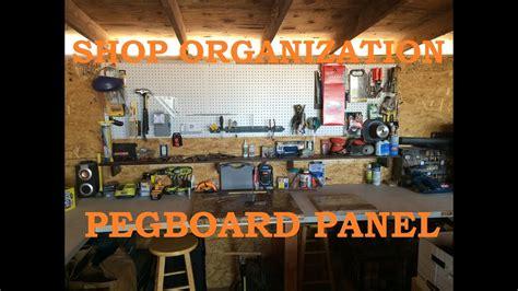 shop organization   build  pegboard panel wall