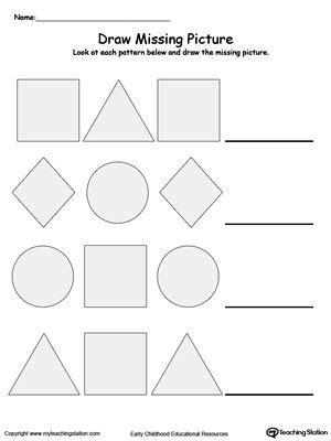 draw the missing shape to complete the pattern patterns worksheets shapes worksheets shape