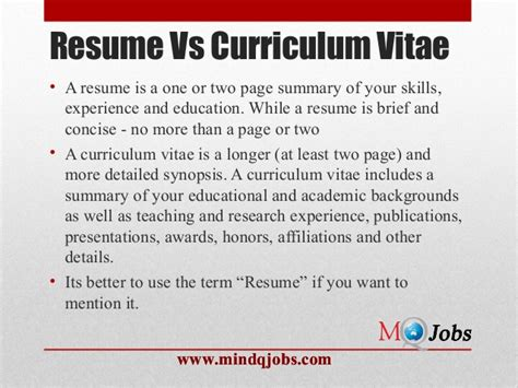 Resume Vs Curriculum Vitae by Mindqjobs Resume Structure And Covering Letter