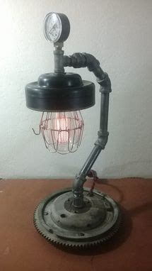 custom  upcycled automotive parts lamp  retro steam
