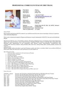 curriculum vitae chef thang new