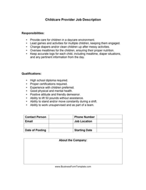 Day Care Duties Resume by Childcare Provider Description Template