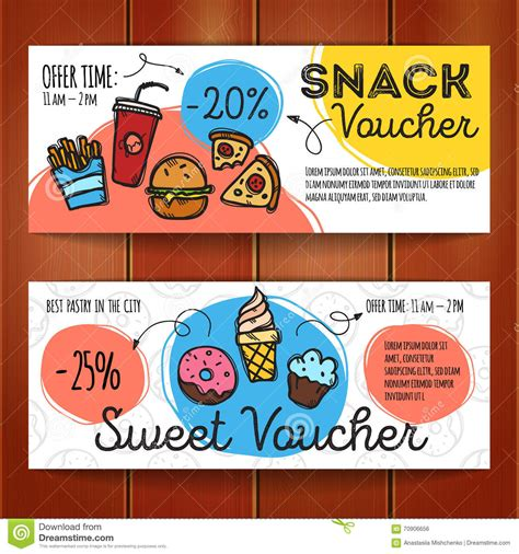 cuisine promotion discount voucher template with food flat design