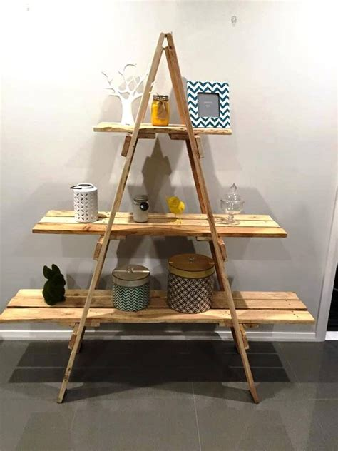 creating  shelving unit    wooden ladder