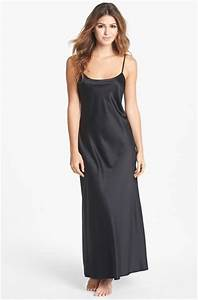 Natori Long Charmuse Nightgown in Black | Lyst