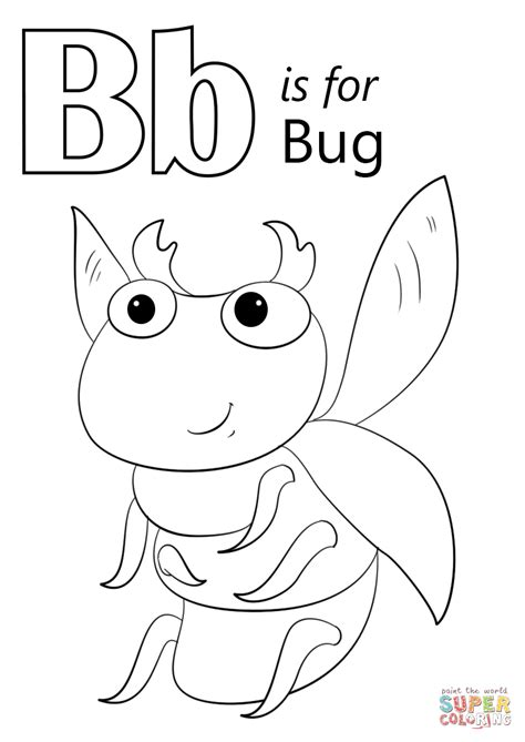 letter b is for bug coloring page free printable 176 | letter b is for bug coloring page