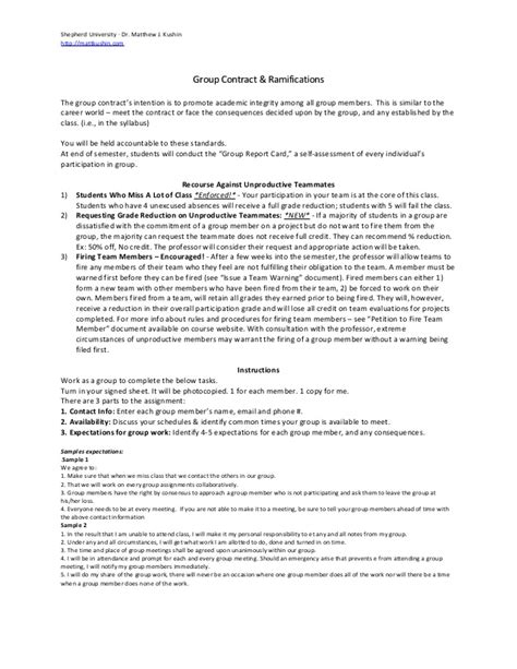 team contract template team contract for classroom projects