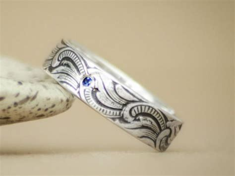 art nouveau men s engagement ring in sterling silver unisex ocean waves wedding band with