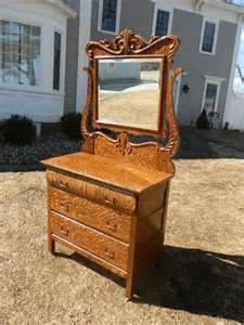 gorgeous antique faux tiger oak dresser w carved detail beveled mirror ebay
