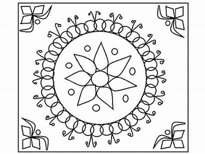 Rangoli Coloring Diwali Printable Patterns Template Kolorowanki