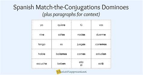 spanish verb games conjugation dominoes spanish playground