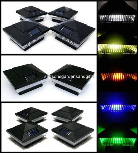 2 pk 4x4 black solar post deck cap fence lights 5 leds