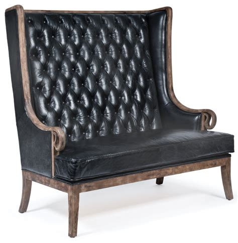 Black Settees Sale by Vince Modern Classic High Back Tufted Black Leather Wood