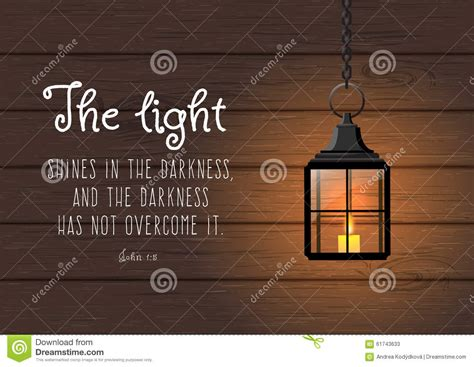 light shines   darkness biblical quote stock