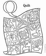 Coloring Alphabet Quilt Pages Pre Preschool Letters sketch template