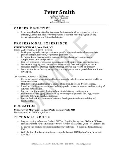 Resume Format For Quality Assurance by Quality Assurance Resume Exle Resume Exles Sle Resume Cover Letter And Sle Resume