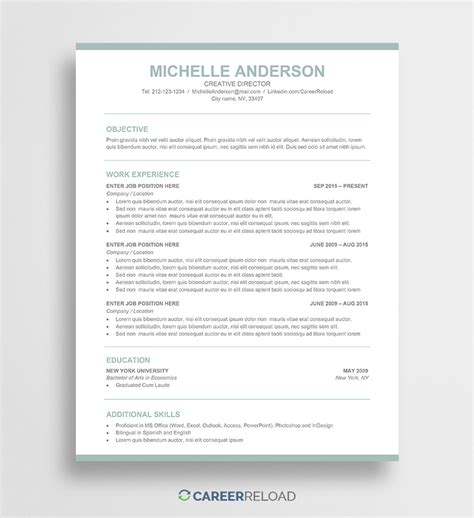 Word Resume Templates by Free Word Resume Templates Free Microsoft Word Cv Templates