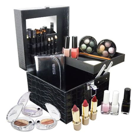 mallette de maquillage jour en croco noir matelass 233 kit