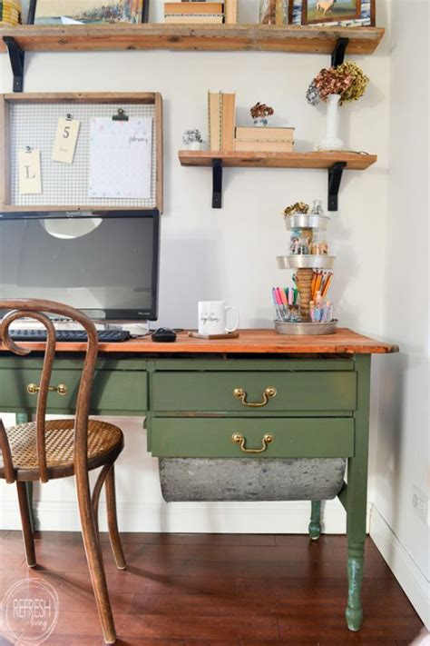 vintage modern home office reveal  room challenge