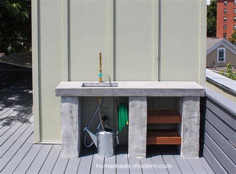 homemade modern ep diy outdoor kitchen  concrete
