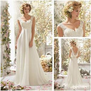 new white lace cap sleeve a line floor length wedding With white lace wedding dresses