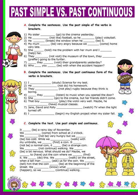 simple   continuous worksheet  esl