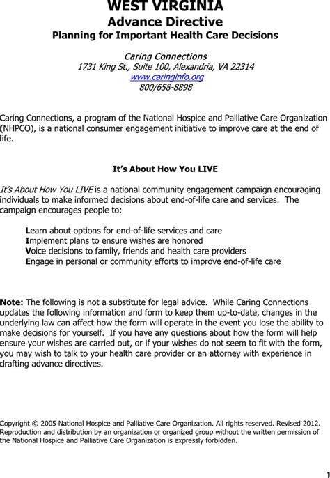virginia living will form download west virginia advance directive form for free