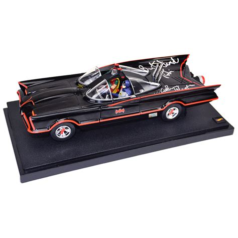 Original Batmobile Autographed By adam west and burt ward autographed die cast 1 18 scale