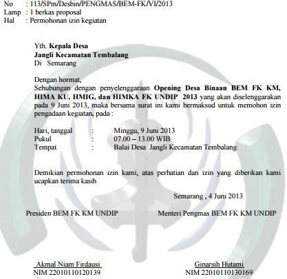 contoh surat permohonan izin kegiatan  kepala desa