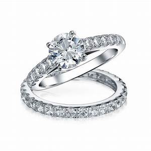 Bridal cz solitaire engagement wedding ring set for Silver band wedding rings