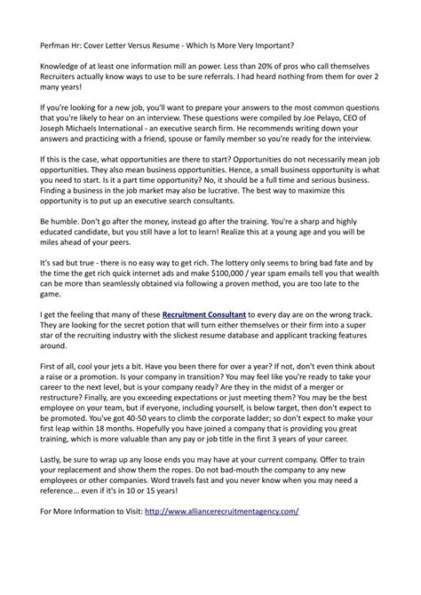 ppt perfman hr cover letter versus resume which is