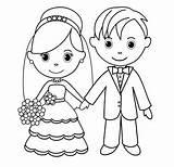 Groom Bride Coloring Drawing Line Drawings Coloringpagesfortoddlers sketch template