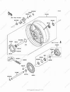 Kawasaki Motorcycle 2011 Oem Parts Diagram For Rear Wheel