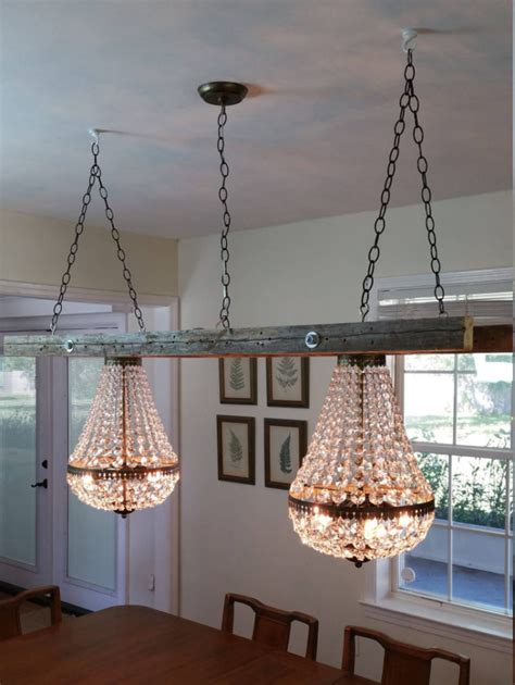 vintage farmhouse ladder  crystal chandeliers id lights