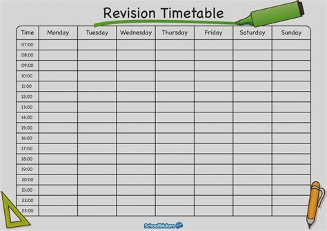 Awesome Blank Revision Timetable Template Pdf 2 Landscape