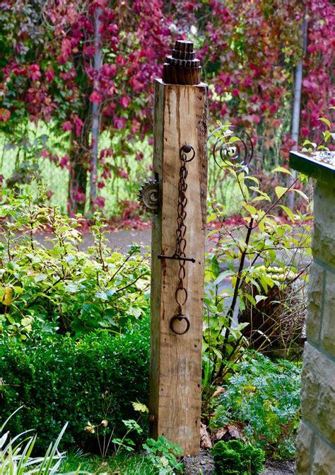Garten Deko Eichenbalken by Seminar Gartenstele Aus Holz Bauen Karin